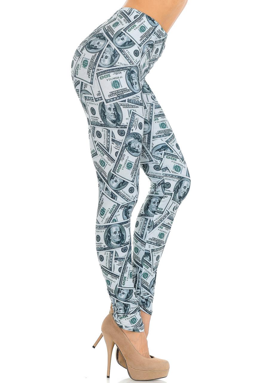 Right side view image of Creamy Soft Raining Money Extra Small Leggings - USA Fashion™