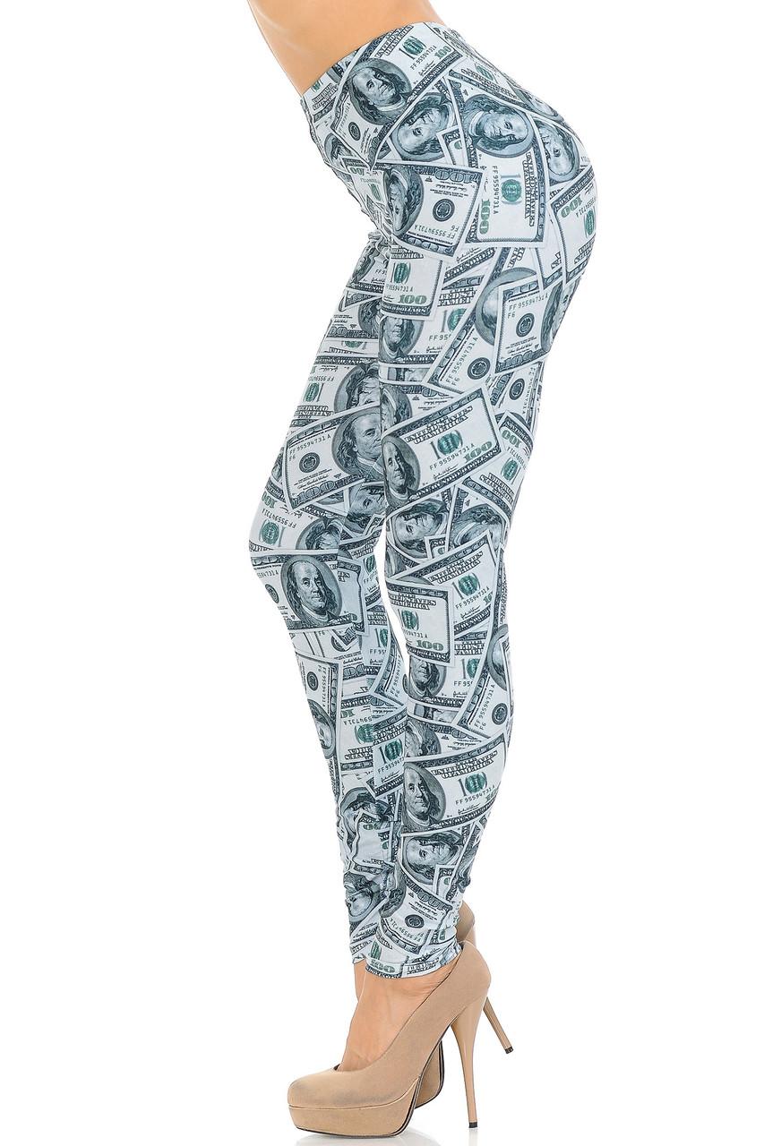 Left side view image of Creamy Soft Raining Money Extra Small Leggings - USA Fashion™