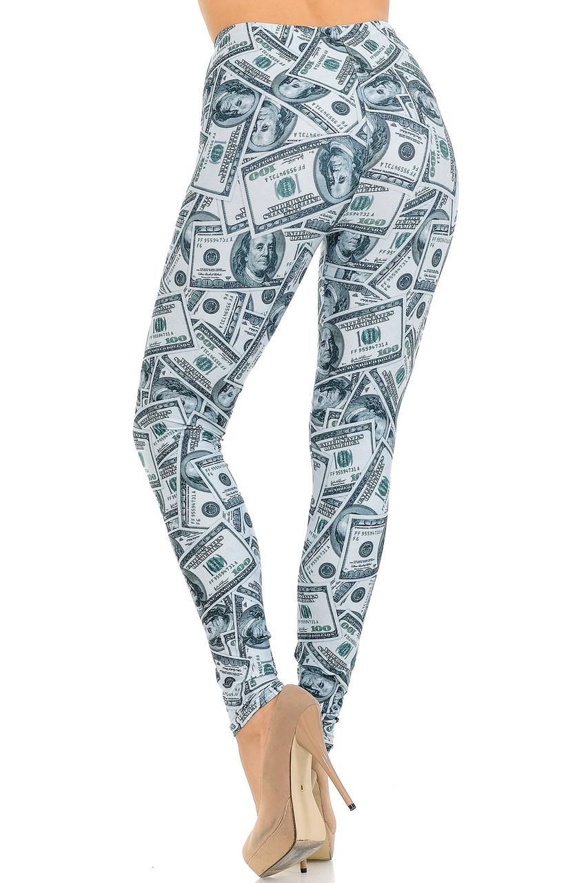 Back view image of Creamy Soft Raining Money Extra Small Leggings - USA Fashion™