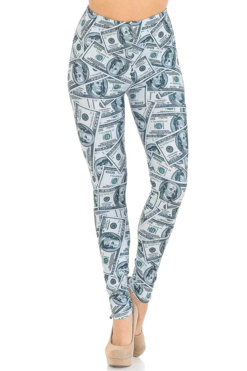 Front view image of Creamy Soft Raining Money Extra Small Leggings - USA Fashion™
