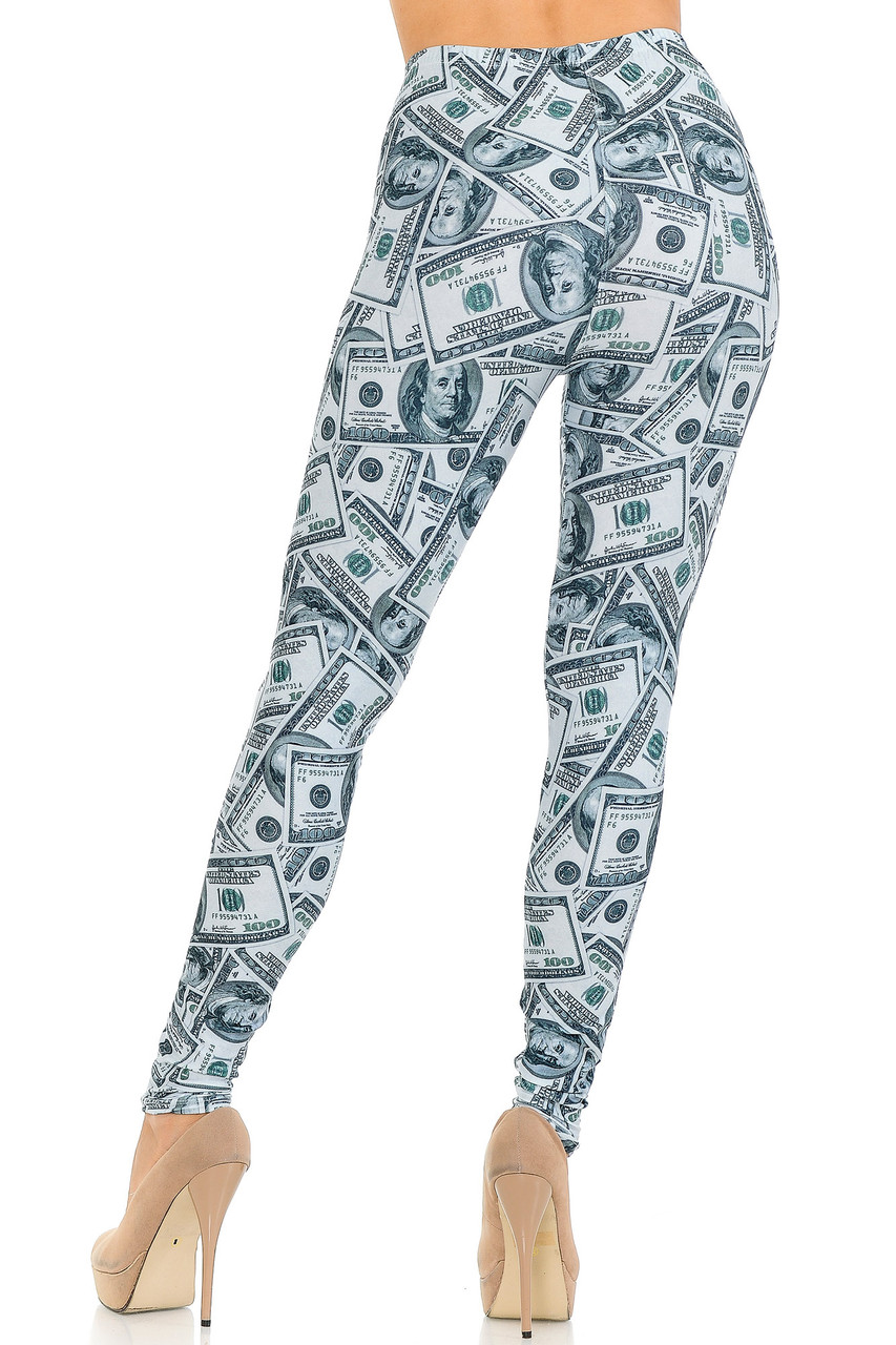 Rear view image of our figure flattering Creamy Soft Raining Money Leggings - USA Fashion™ featuring a neutral realistic dollar tone print that pairs with a top of any color.