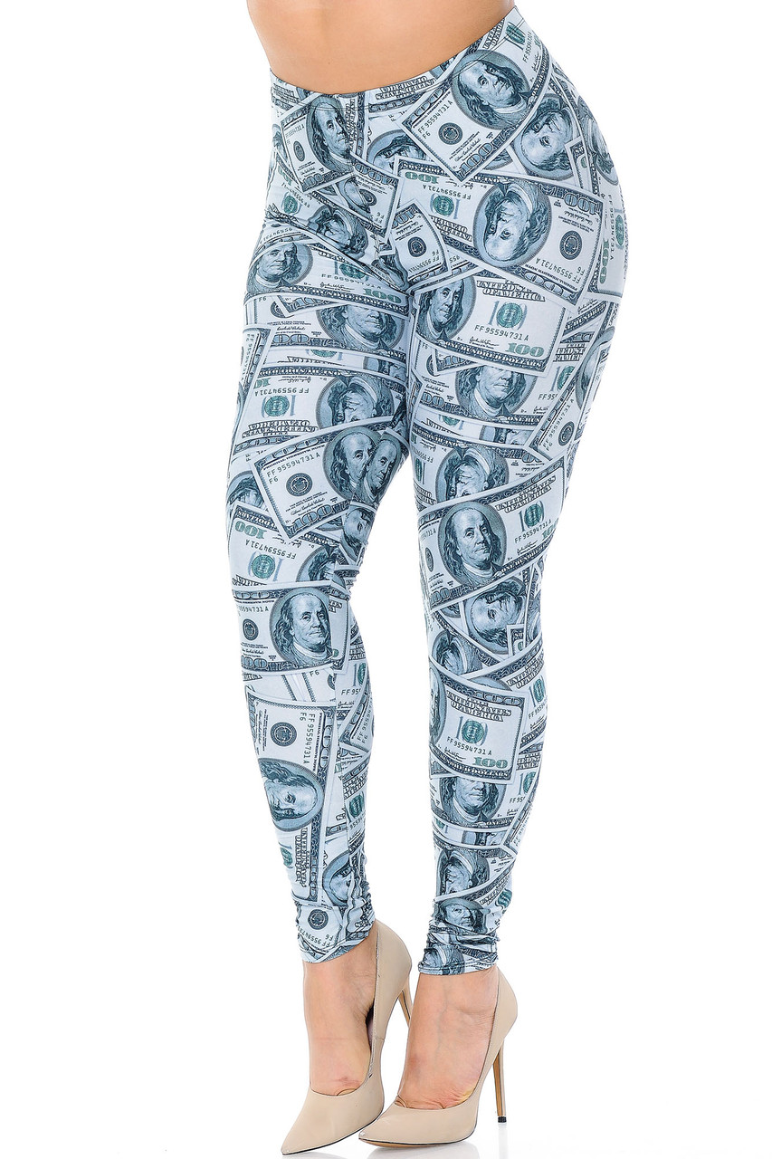 Angled front view image of our Creamy Soft Raining Money Plus Size Leggings - USA Fashion™ featuring a sassy and eye-catching collage style print of 100 dollar bills.