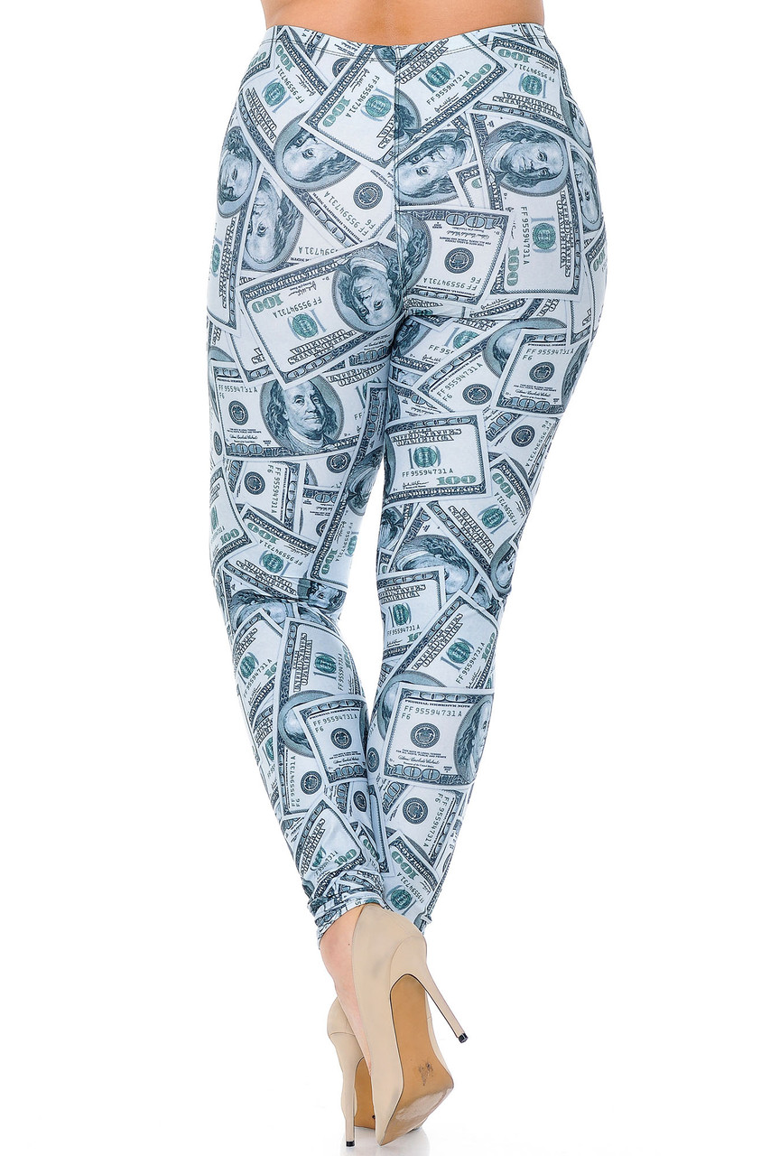 Rear view image of our figure flattering Creamy Soft Raining Money Plus Size Leggings - USA Fashion™ featuring a neutral realistic dollar tone print that pairs with a top of any color.