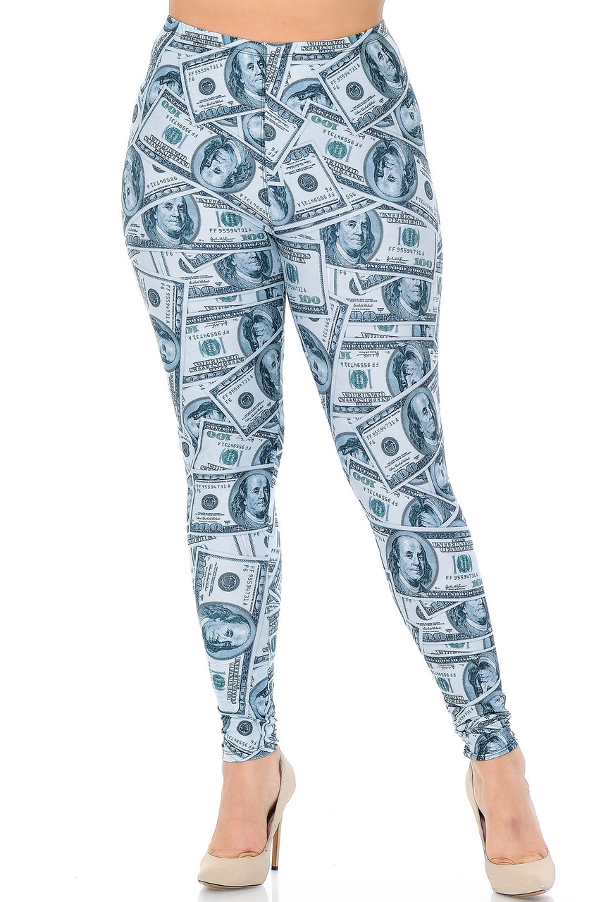 Front view image of our mid rise Creamy Soft Raining Money Extra Plus Size Leggings - 3X-5X - USA Fashion™with an elastic stretch waistband.
