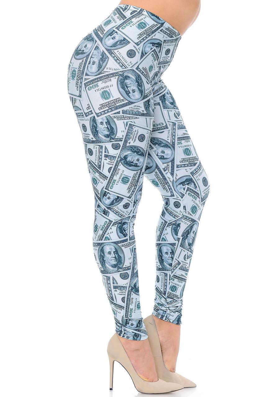Right side view image of Creamy Soft Raining Money Extra Plus Size Leggings - 3X-5X - USA Fashion™