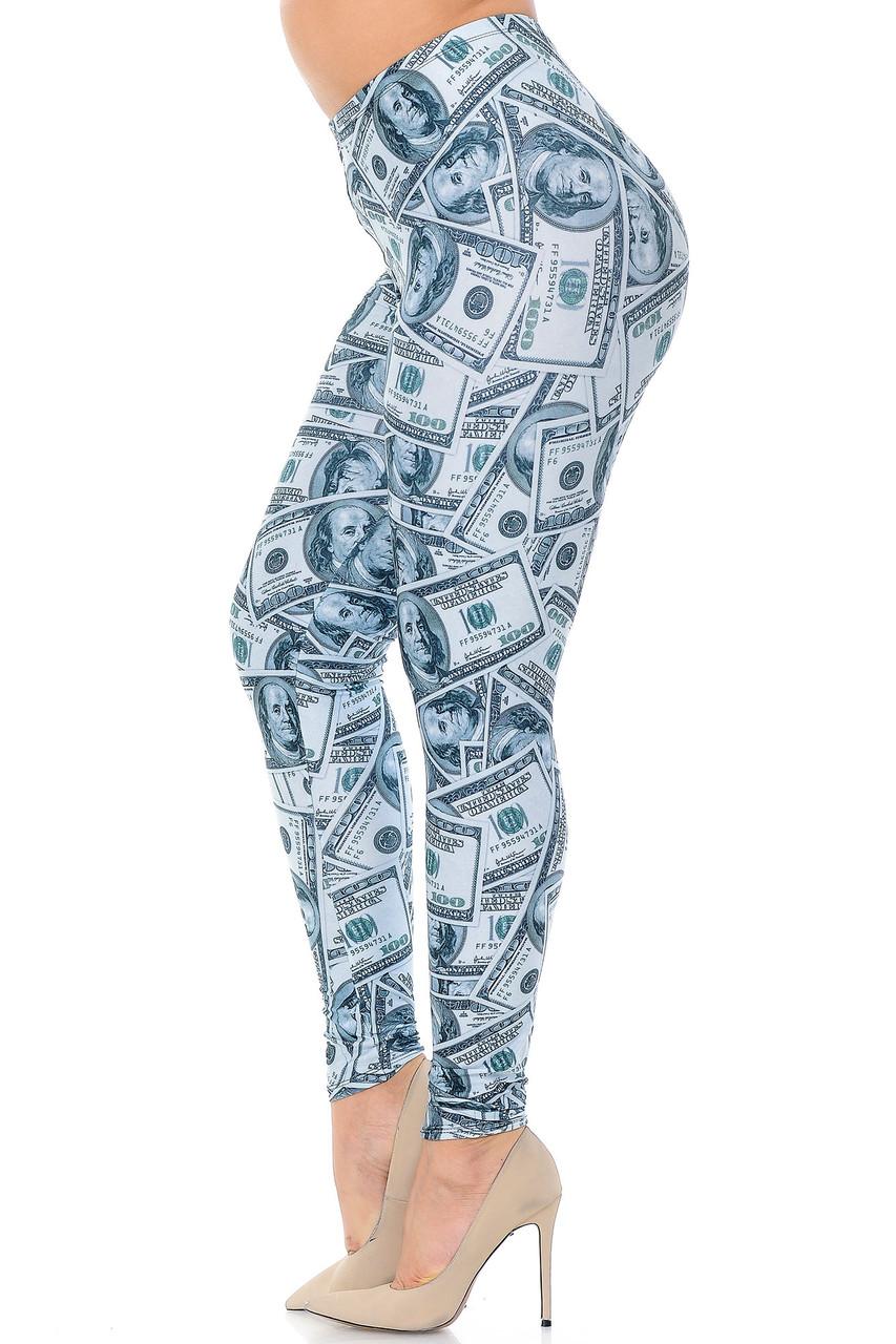 Left side view image of Creamy Soft Raining Money Extra Plus Size Leggings - 3X-5X - USA Fashion™