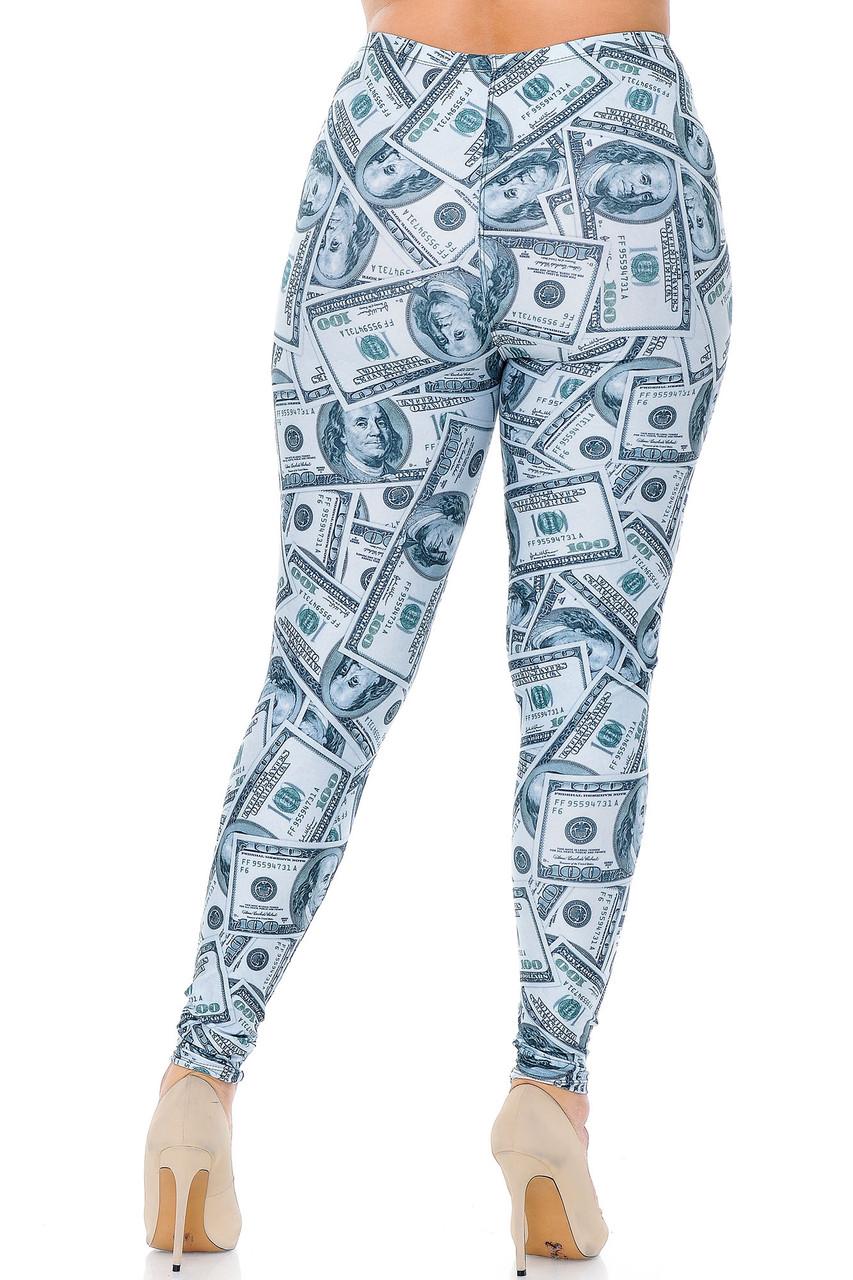 Back view image of Creamy Soft Raining Money Extra Plus Size Leggings - 3X-5X - USA Fashion™