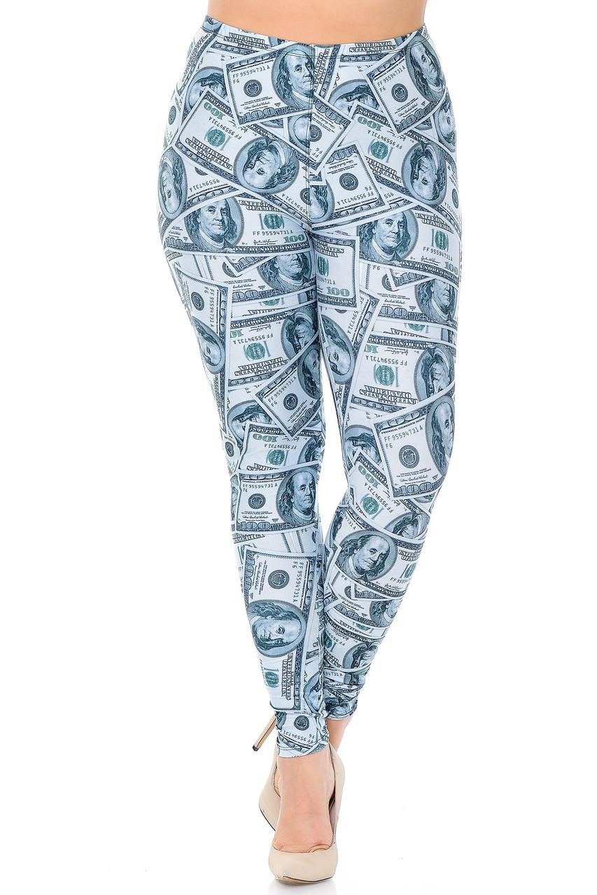 Front view image of Creamy Soft Raining Money Extra Plus Size Leggings - 3X-5X - USA Fashion™