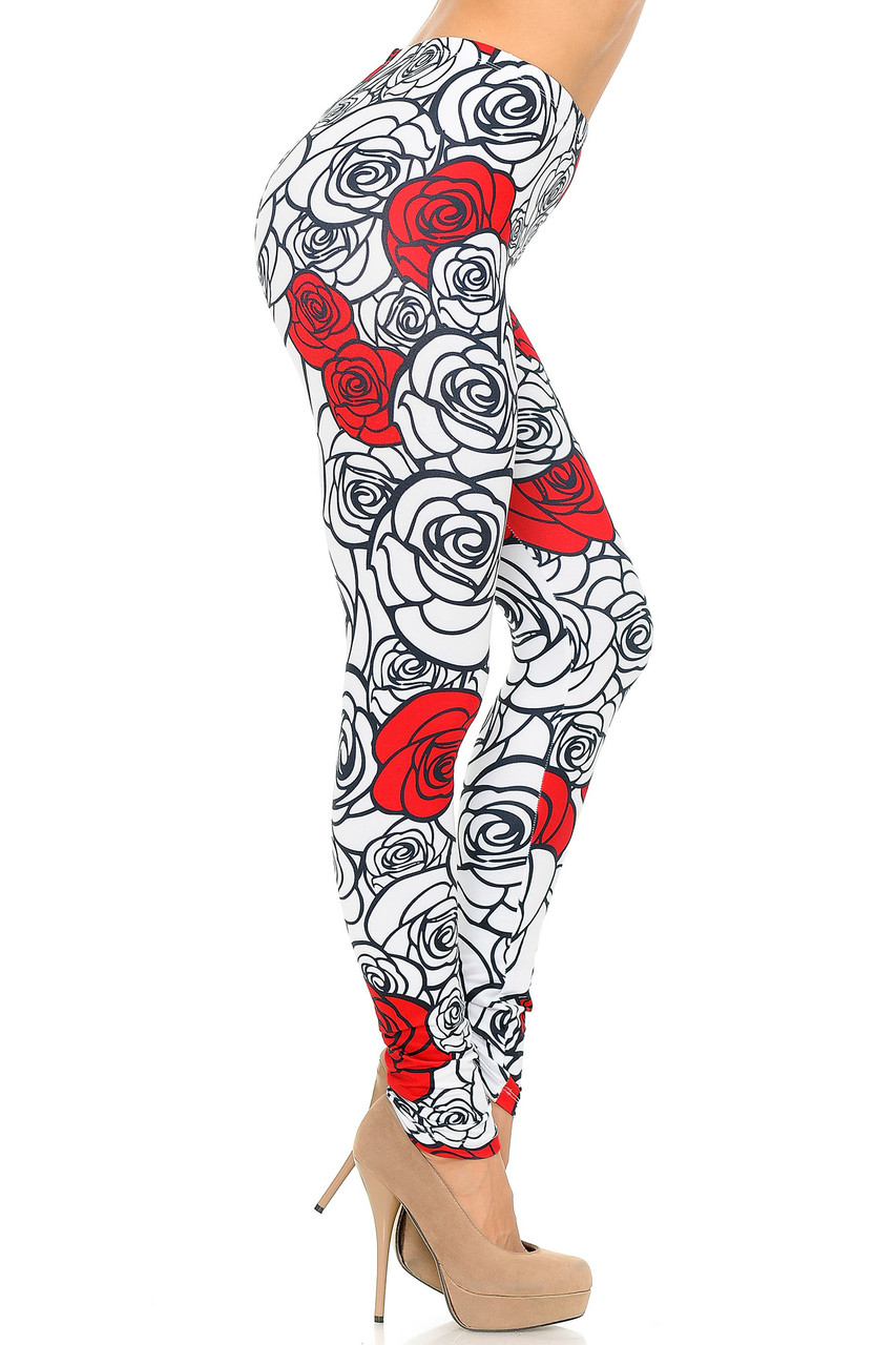 Right side view image of Creamy Soft Red Stencil Roses Leggings - USA Fashion™