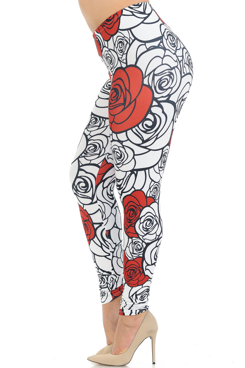 Left side view image of Creamy Soft Red Stencil Roses Plus Size Leggings - USA Fashion™