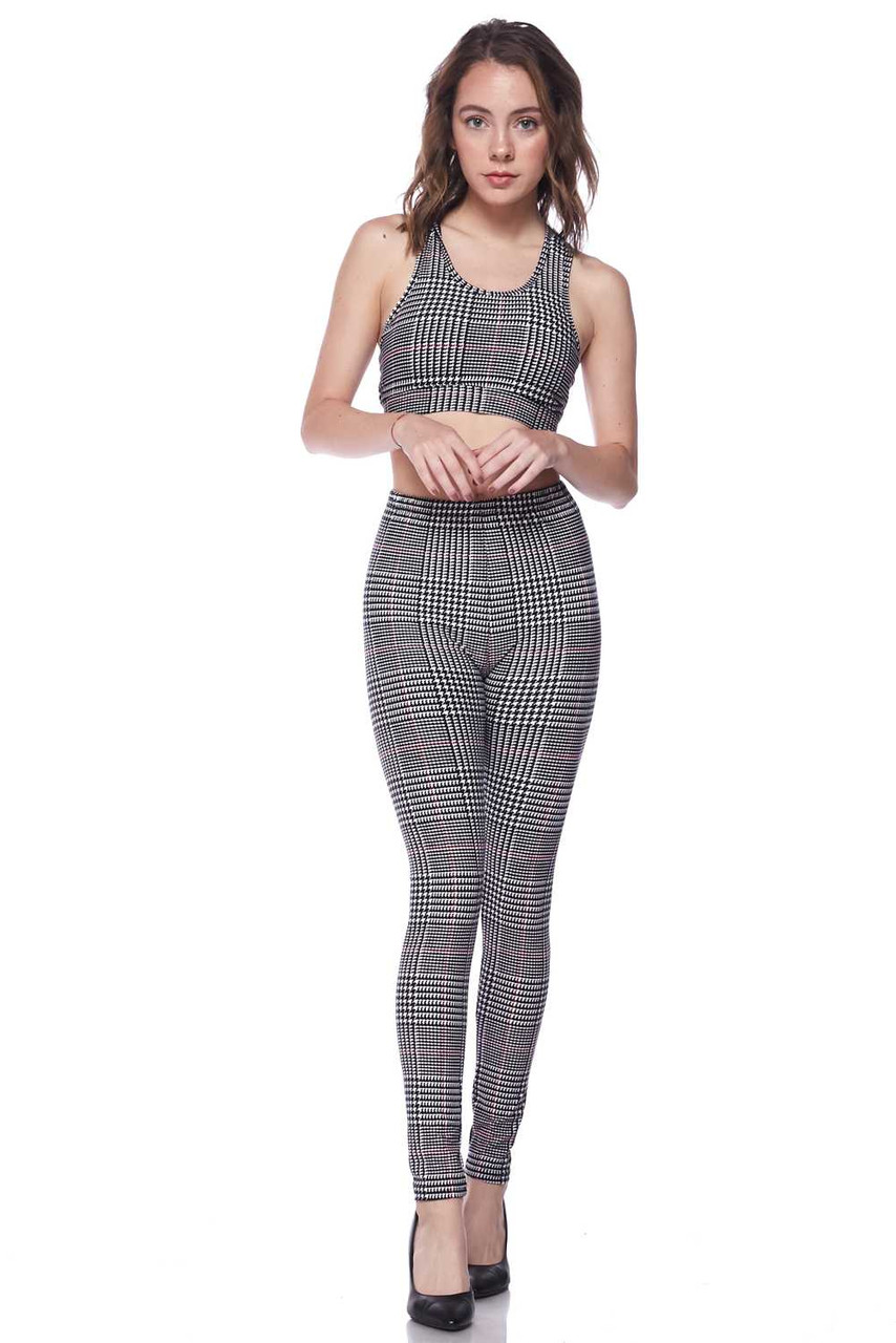 Front view image of our Buttery Soft Burgundy Accent Houndstooth Plaid Bra and Leggings Set, a coordinated two piece with a black and white glen plaid design incorporated with a dogstooth print and thin red stipe accents that can be worn together, or respectively.