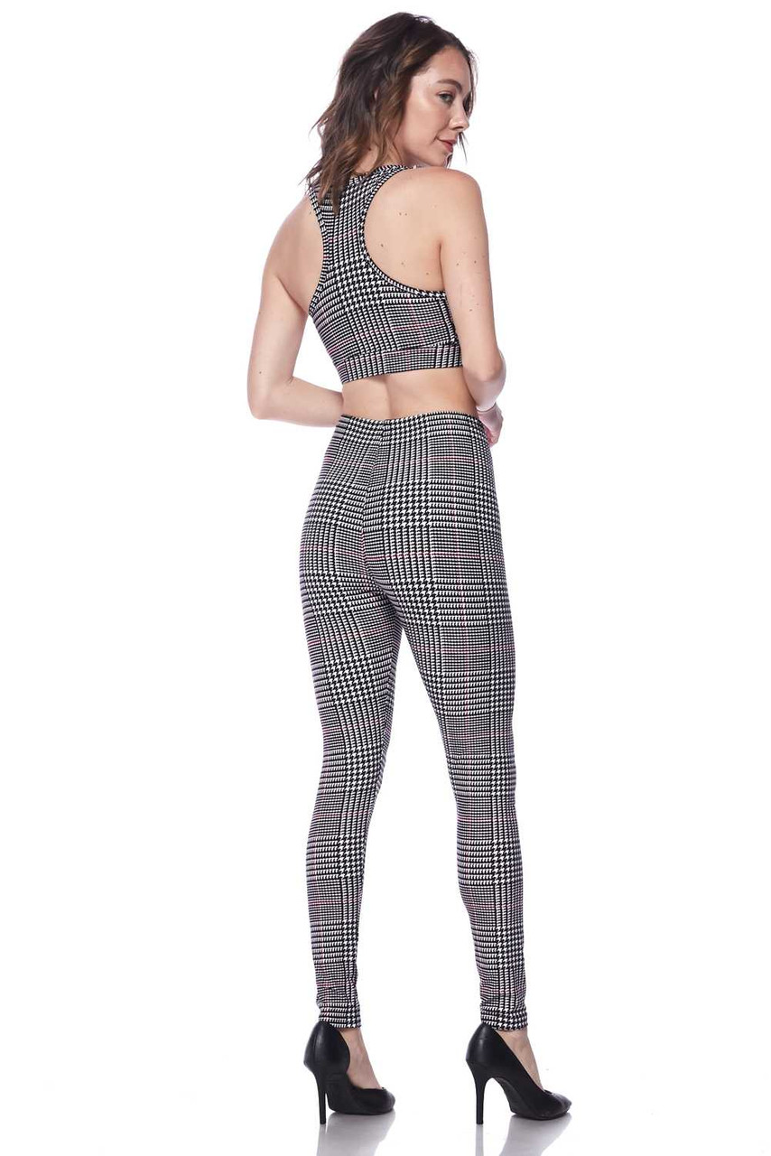 Partial rear view image of Buttery Soft Burgundy Accent Houndstooth Plaid Bra and Leggings Set