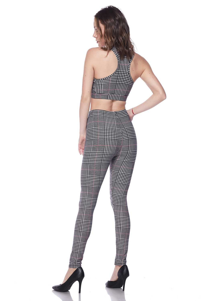 Partial left side/rear view image of Buttery Soft Burgundy Accent Houndstooth Plaid Bra and Leggings Set