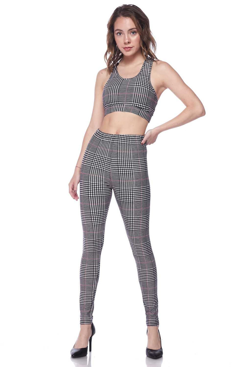 Front image of Buttery Soft Burgundy Accent Houndstooth Plaid Bra and Leggings Set that can be worn as is to a yoga class, or dressed up with heels and a leather jacket for a sassy and sexy outfit.