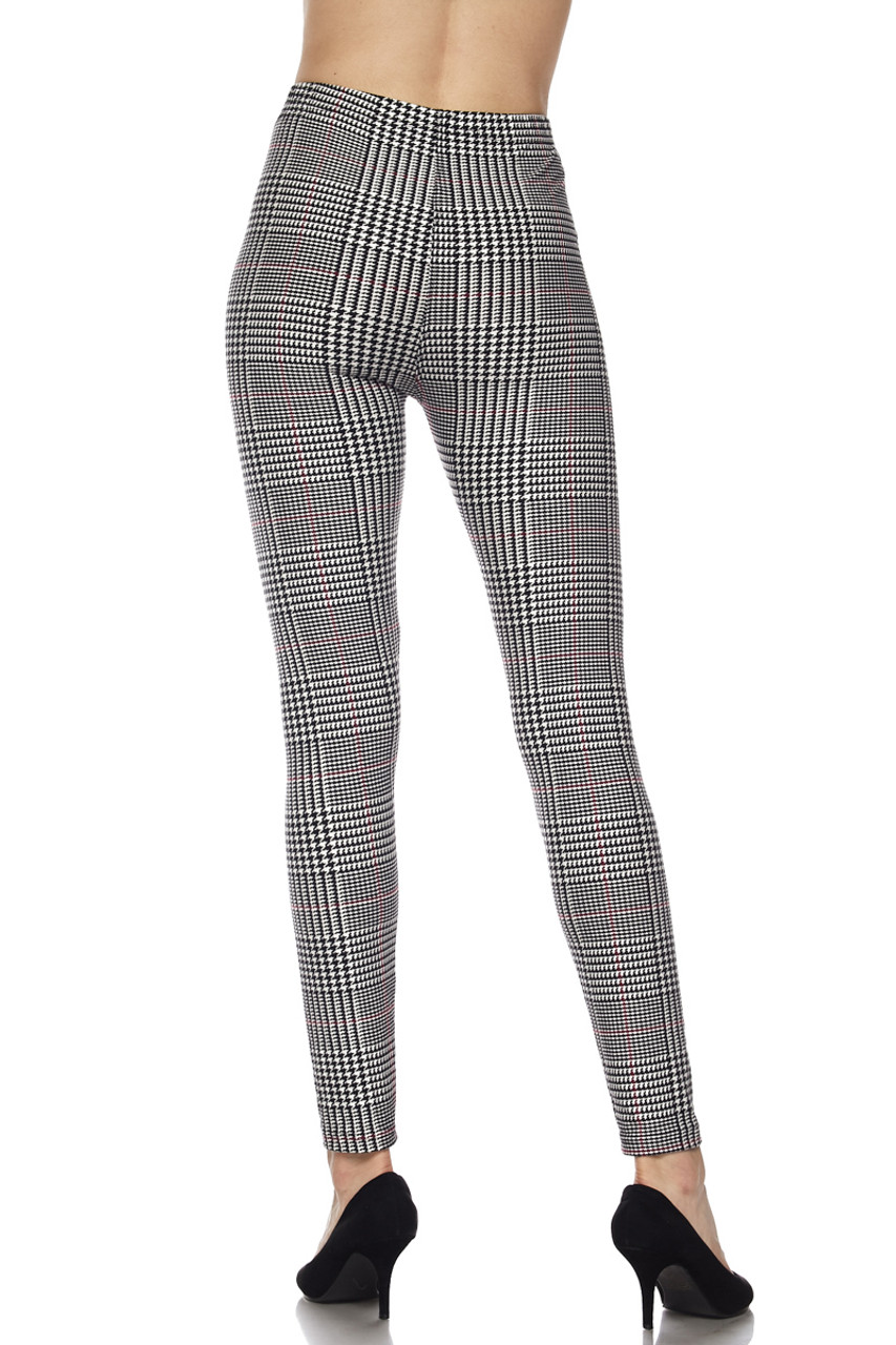 Rear view showing off the figure flattering fit of our Buttery Soft Burgundy Accent Houndstooth Plaid Bra and Leggings Set