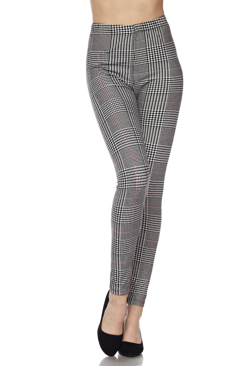 Front bent right knee image of Buttery Soft Burgundy Accent Houndstooth Plaid Leggings