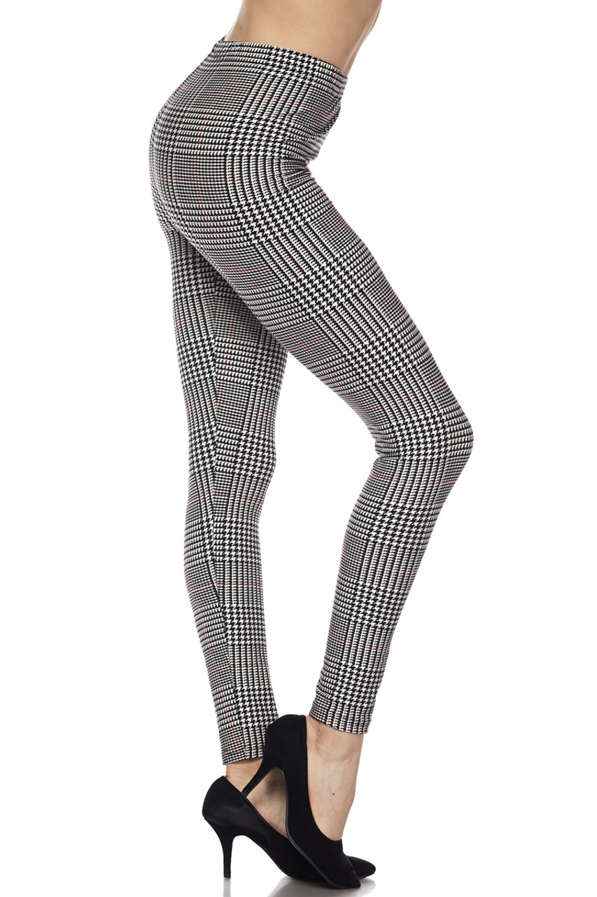 Right side view image of Buttery Soft Burgundy Accent Houndstooth Plaid Leggings
