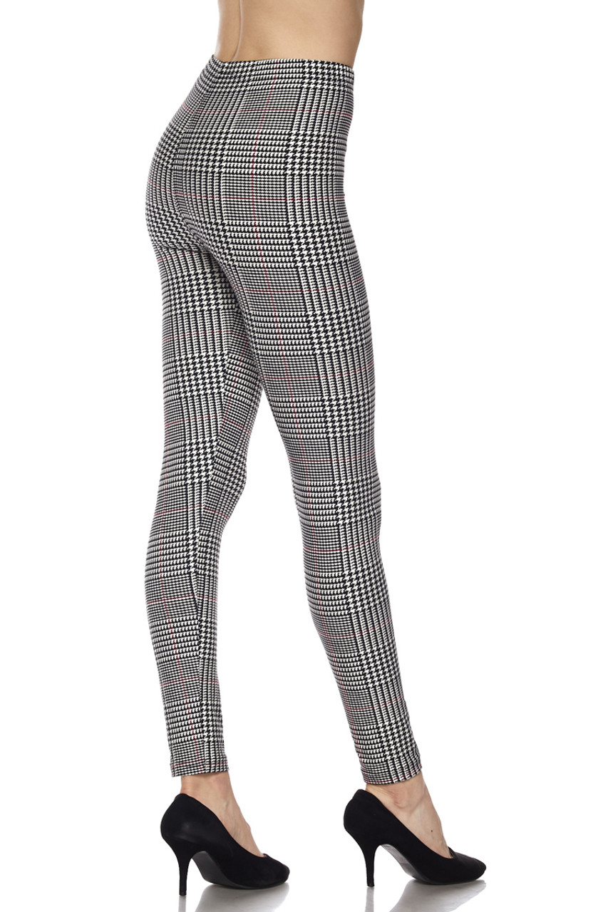 Partial rear right side view of Buttery Soft Burgundy Accent Houndstooth Plaid Leggings