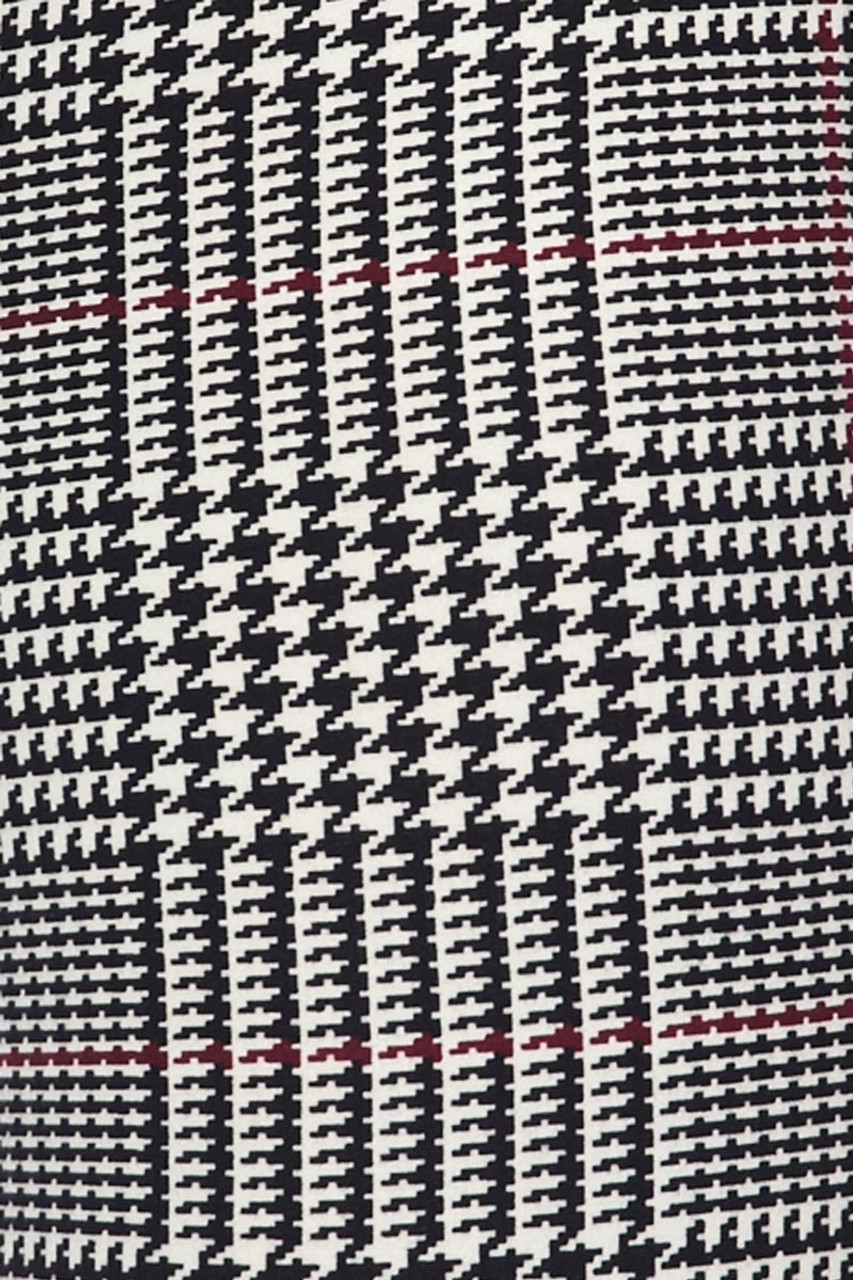 Close up fabric swatch image of Buttery Soft Burgundy Accent Houndstooth Plaid Leggings