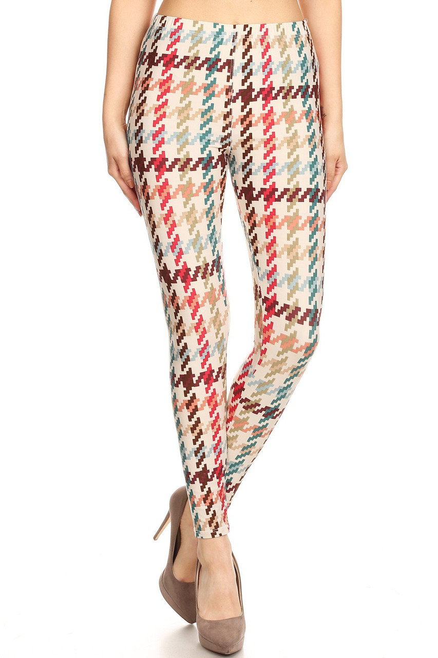Front view image of our Buttery Soft Earth Tone Pixel Zags Leggings with a toned down color scheme that is fitting for any season and can be dressed up or down.