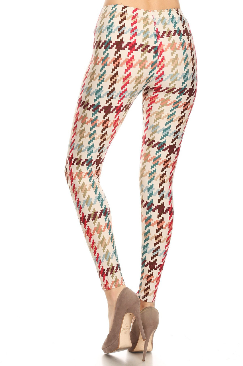 Back view image of our figure flattering Buttery Soft Earth Tone Pixel Zags Plus Size Leggings