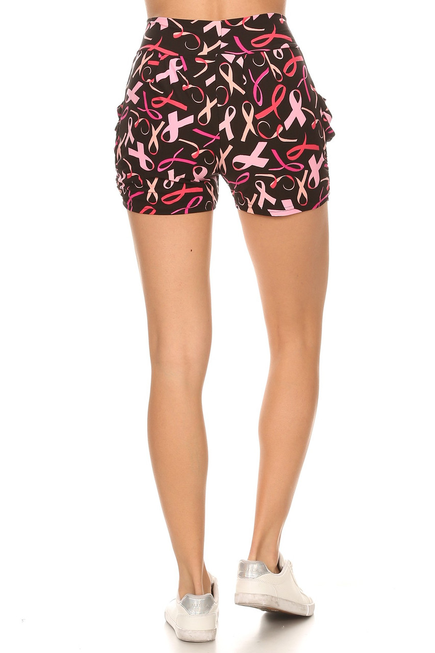 Rear view image of our harem style Buttery Soft Breast Cancer Awareness Shorts with a comfort fabric waist.