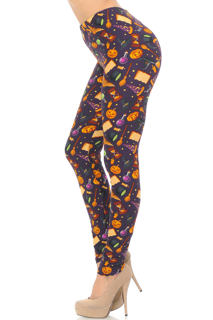 Left side view image of Buttery Soft Everything Halloween Plus Size Leggings