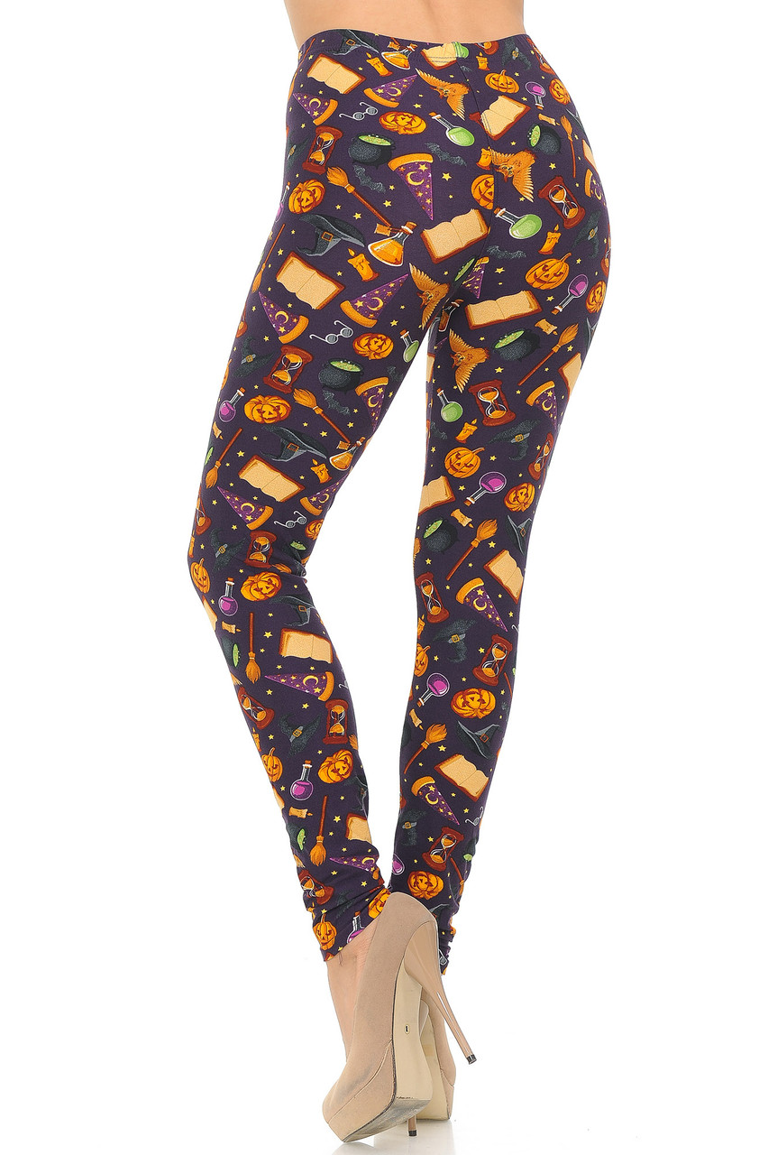 Back image showing off the 360 degree print on our Buttery Soft Everything Halloween Plus Size Leggings