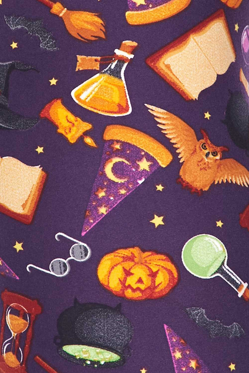 Close up fabric swatch of Buttery Soft Everything Halloween Plus Size Leggings