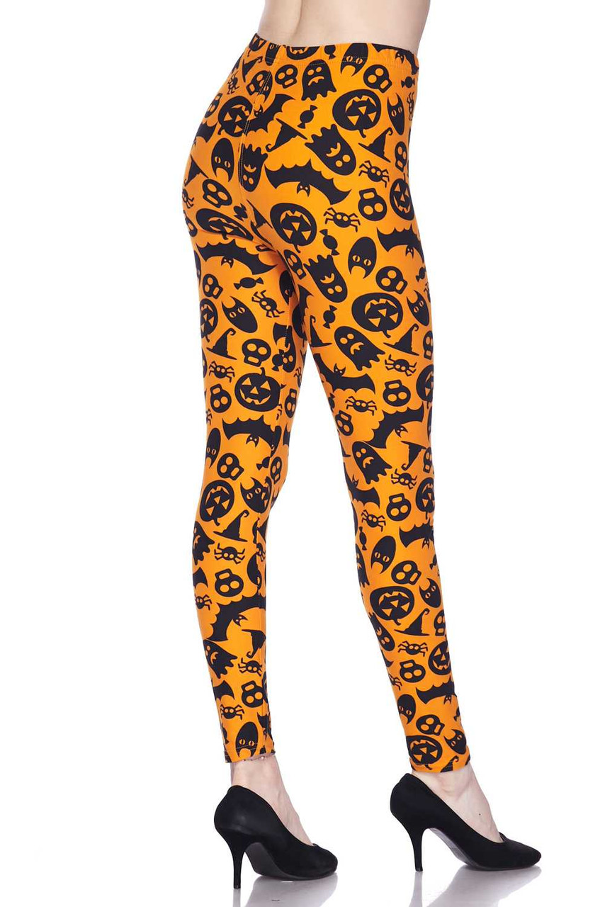 Partial back/right side view image of Buttery Soft Halloween Plus Size Leggings
