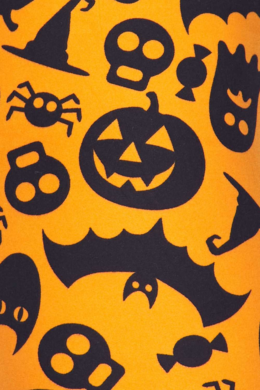 Close up fabric swatch of Buttery Soft Halloween Plus Size Leggings