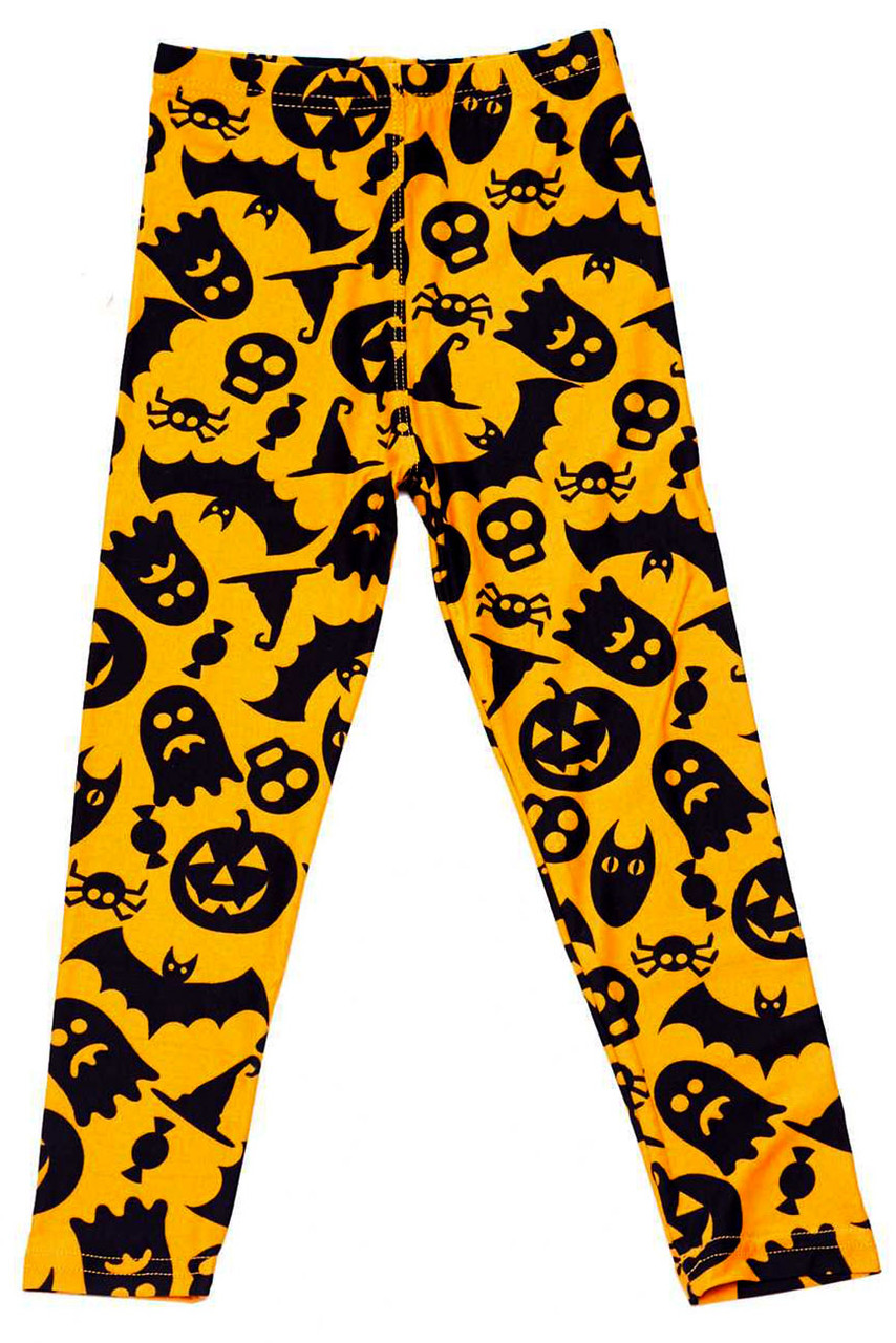 Flat front image view of our Buttery Soft Halloween Kids Leggings with a festive traditionally colored black on orange design featuring pumpkins, skulls, bats, ghosts, spiders, and witch hats.