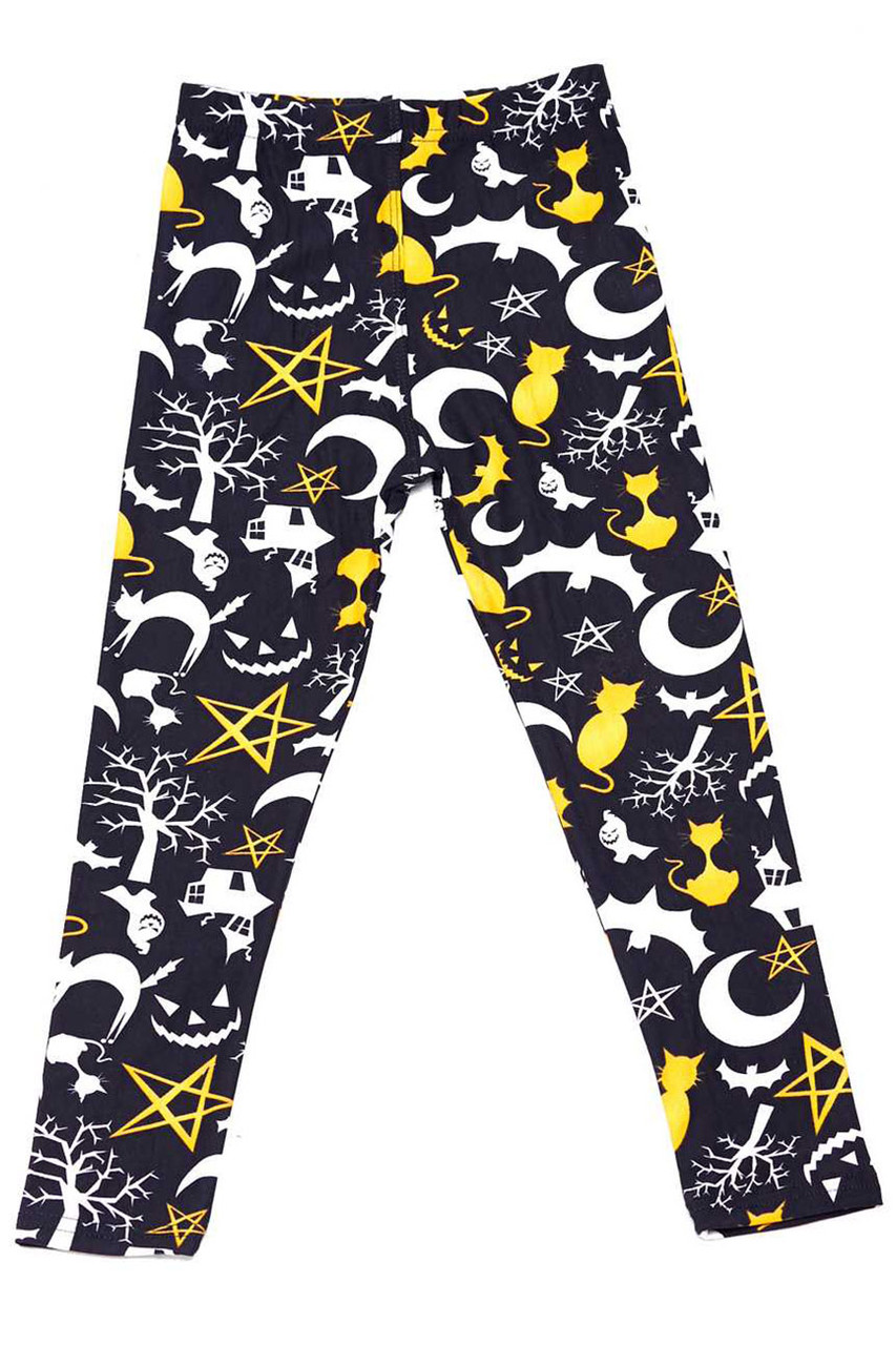 Flat front view image of Buttery Soft Happy Halloween Kids Leggings featuring a spooky themed white and yellow print of ghosts, black cats, willowy trees, and Jack-o-Lanterns.