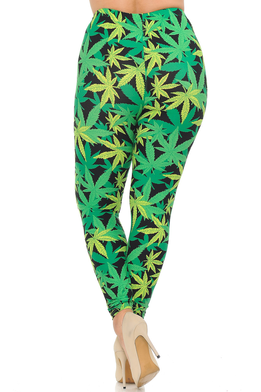 Back view image of Buttery Soft Cannabis Marijuana Plus Size Leggings with a bold 360 degree print that stands out wherever you go.