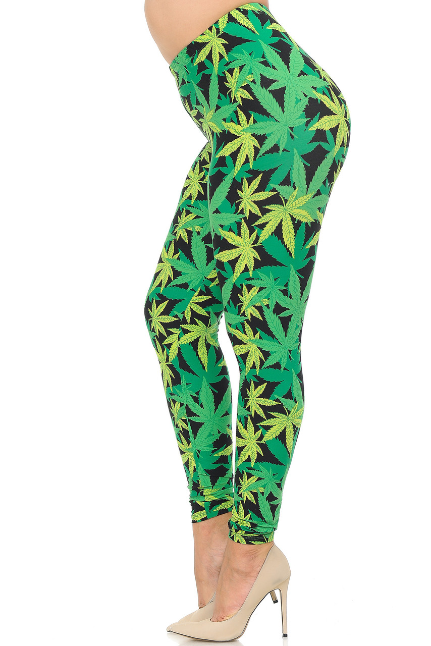 Left side view image of Buttery Soft Cannabis Marijuana Extra Plus Size Leggings - 3X-5X
