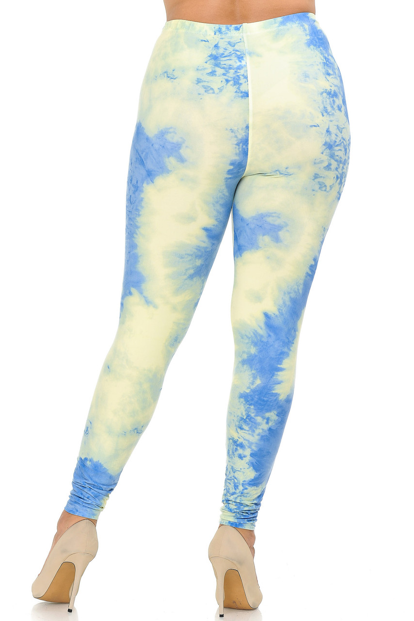 Rear view image of our flattering form-fitting Buttery Soft Pastel Tie Dye Extra Plus Size Leggings with a fun on-trend look that pairs well with casual crop tops and light dressier chiffon tanks.