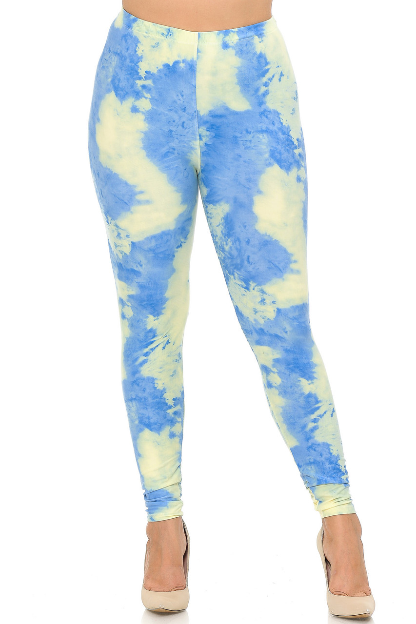 Front view image of our sassy and colorful Buttery Soft Pastel Tie Dye Extra Plus Size Leggings featuring a mid rise elastic comfort waist.