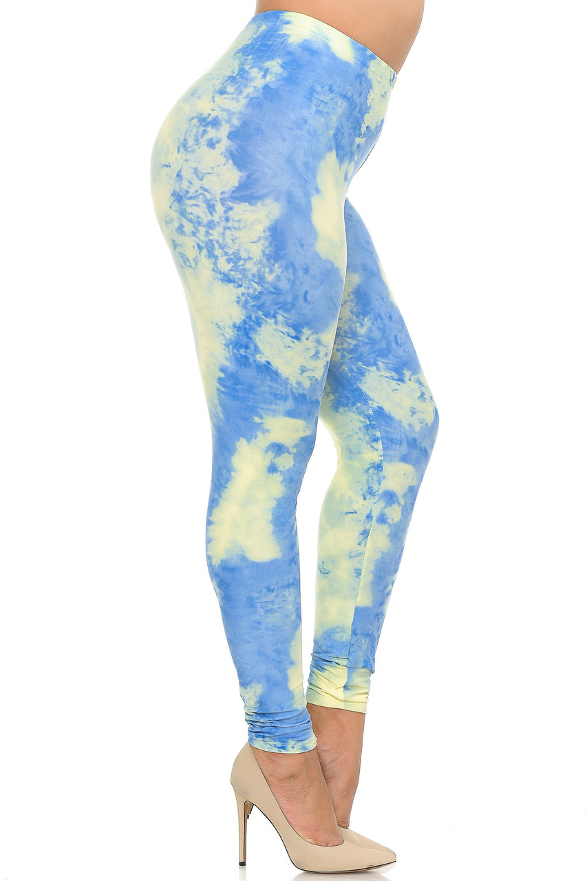 Right side view image of Buttery Soft Pastel Tie Dye Extra Plus Size Leggings - 3X-5X - EEVEE