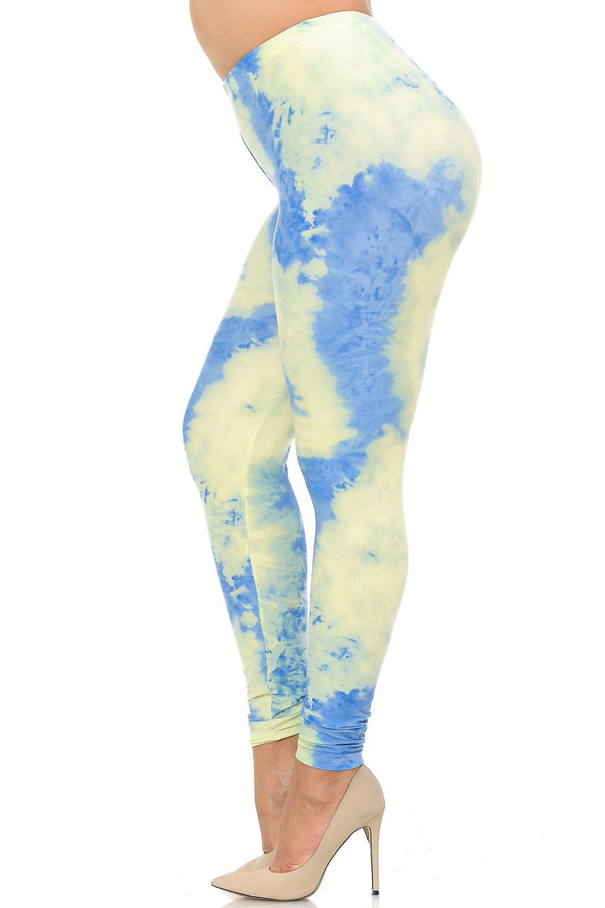 Left side view image of Buttery Soft Pastel Tie Dye Extra Plus Size Leggings - 3X-5X - EEVEE