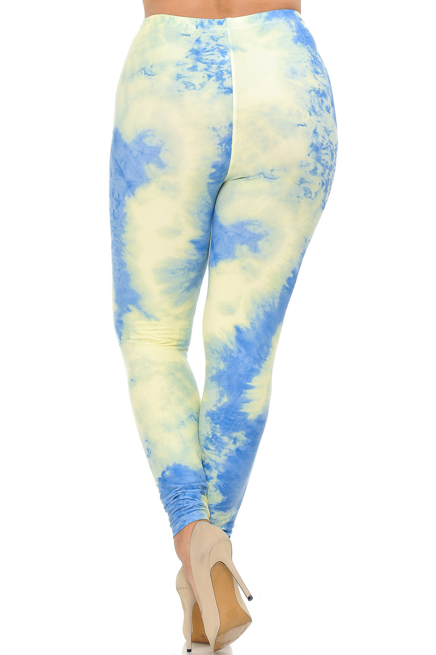 Rear view image of Buttery Soft Pastel Tie Dye Extra Plus Size Leggings - 3X-5X - EEVEE