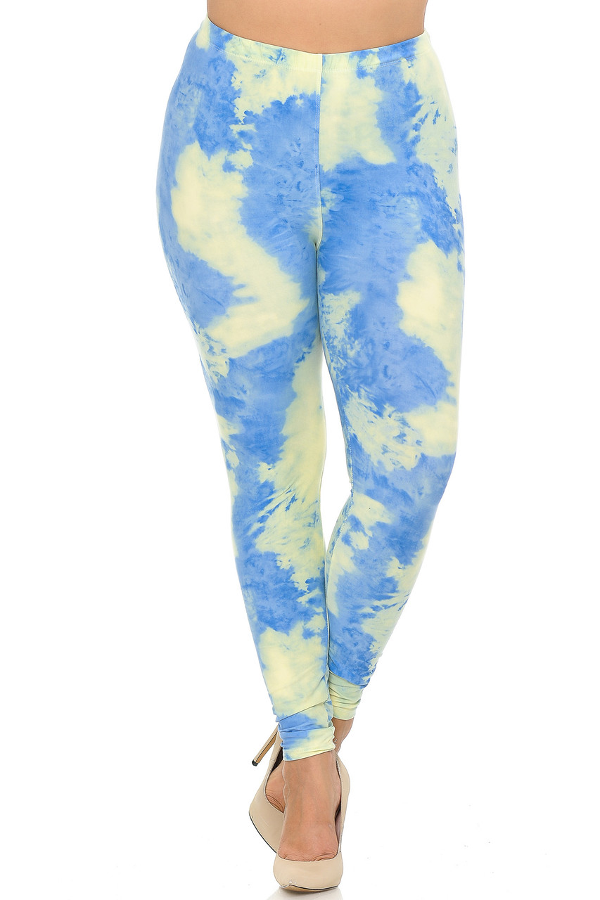Front crossed foot image of Buttery Soft Pastel Tie Dye Extra Plus Size Leggings - 3X-5X - EEVEE