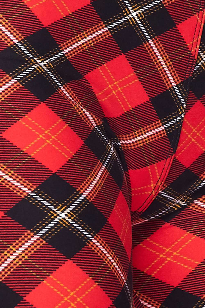 Close up fabric image of Buttery Soft Classic Red Plaid Extra Plus Size Leggings - 3X-5X