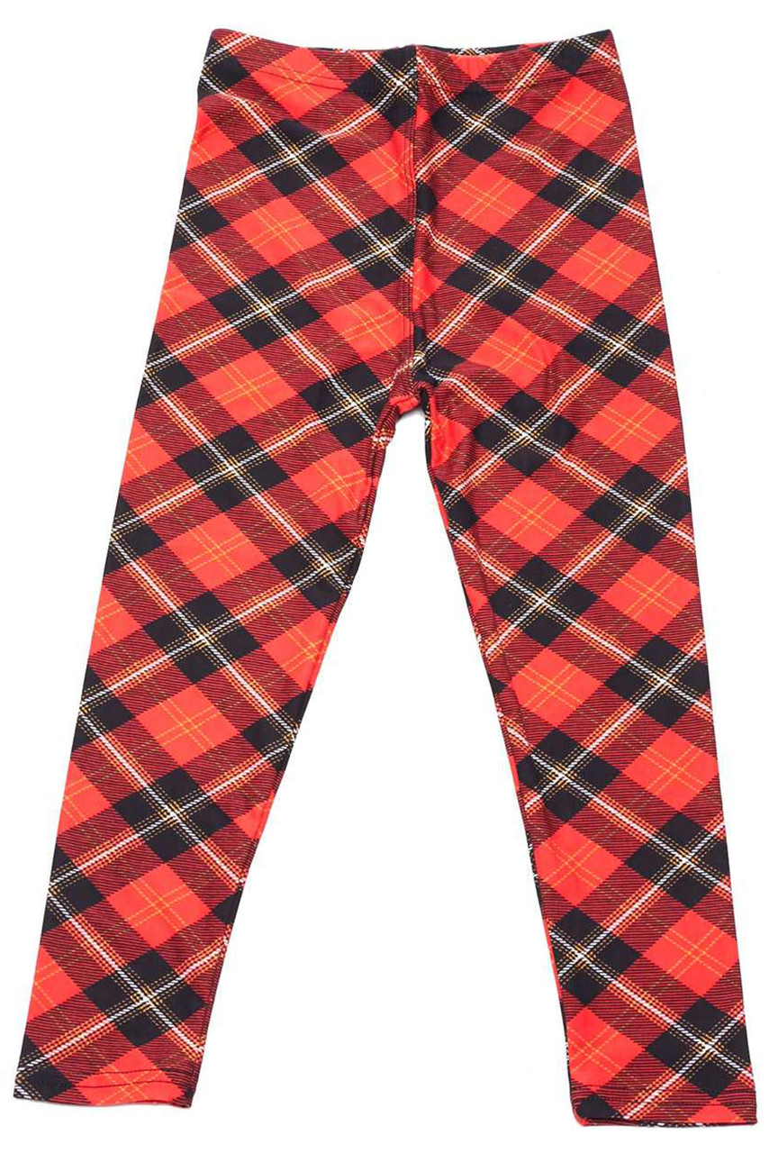 Flat front view image of Buttery Soft Classic Red Plaid Kids Leggings featuring a diagonally oriented black accented Clan Wallace style design.