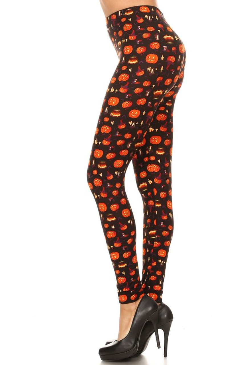 Left side view image of Buttery Soft Pumpkins Cauldrons and Candles Halloween Leggings