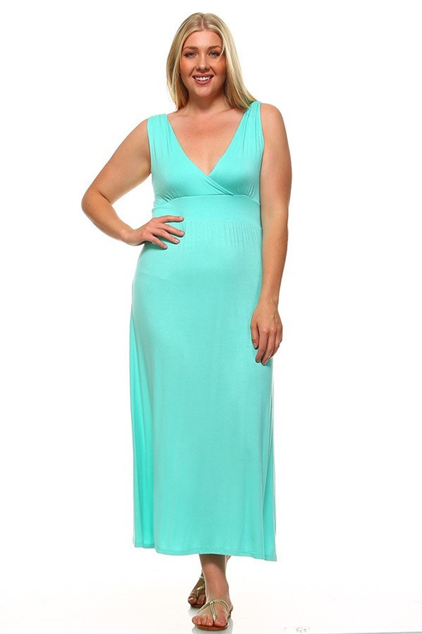 Front view image of Mint Surplice Neckline Twisted Strap Plus Size Maxi Dress