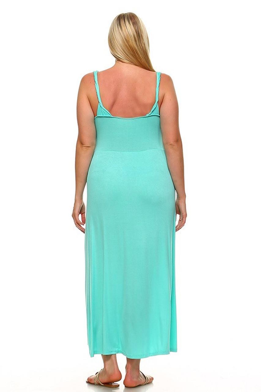 Back view image of Mint Surplice Neckline Twisted Strap Plus Size Maxi Dress