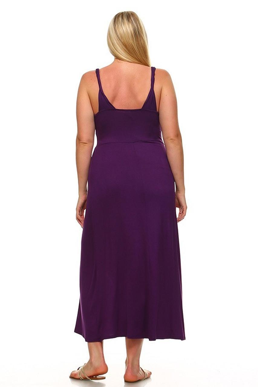 Back view image of Purple Surplice Neckline Twisted Strap Plus Size Maxi Dress