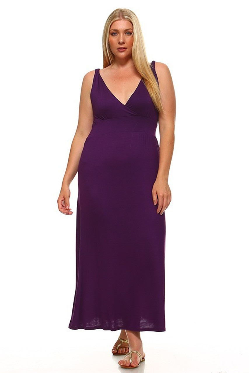 Front facing image of Purple Surplice Neckline Twisted Strap Plus Size Maxi Dress shown styled with gold sandals