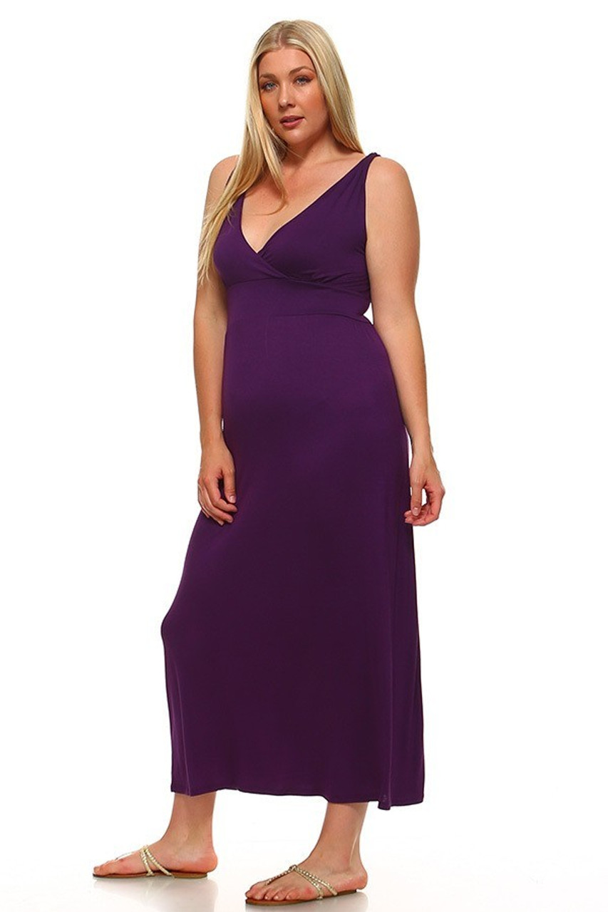 Angled front view image of Purple Surplice Neckline Twisted Strap Plus Size Maxi Dress