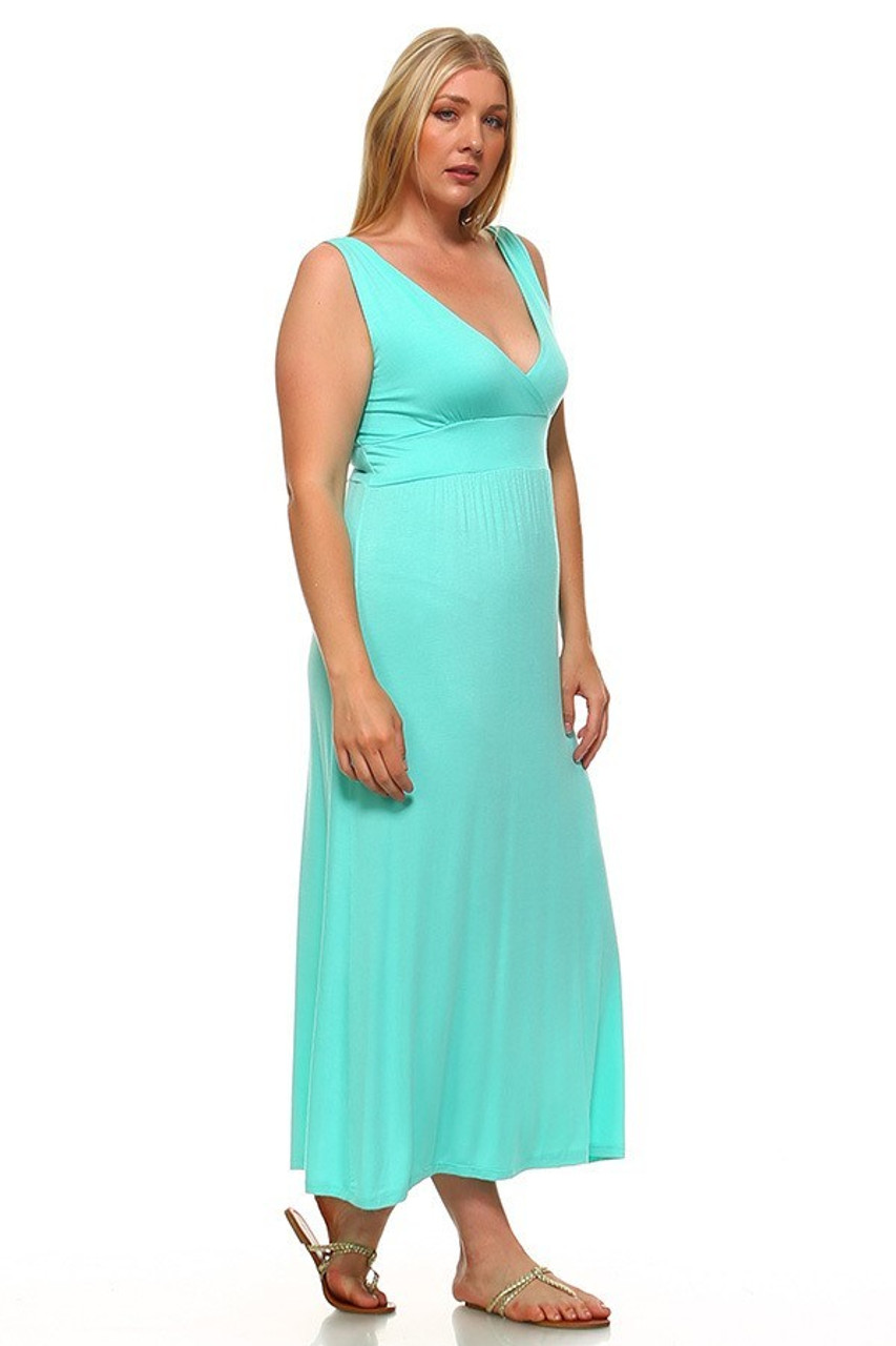 Right side view image of Mint Surplice Neckline Twisted Strap Plus Size Maxi Dress